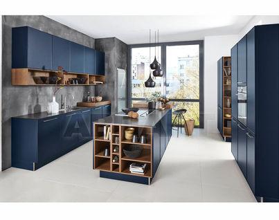 Kitchen Fixtures Nolte Kuechen MODERN KITCHENS Carisma Lack Deep Blue/  Legno Oak Truffle