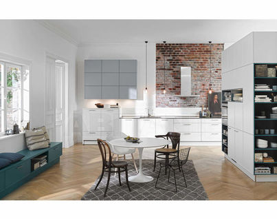 Kitchen Fixtures Nolte Kuechen OPEN PLAN KITCHENS Carisma Lack White/  Papyrus Grey/ Emerald